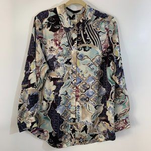 Chico's Silky Print Shirt Button Up Blues Large